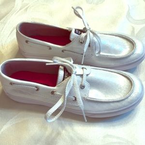 Bahamas White/Silver Girls Sperry